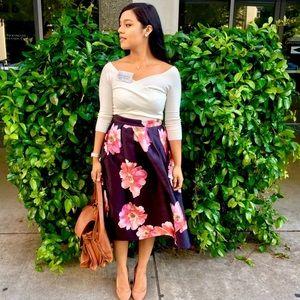 Jessica Wright Midi Satin Floral Skirt